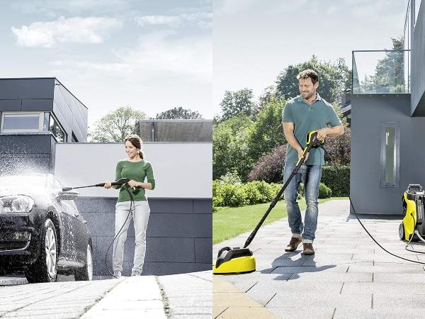 Limpiando coche y suelo con limpiadora Karcher